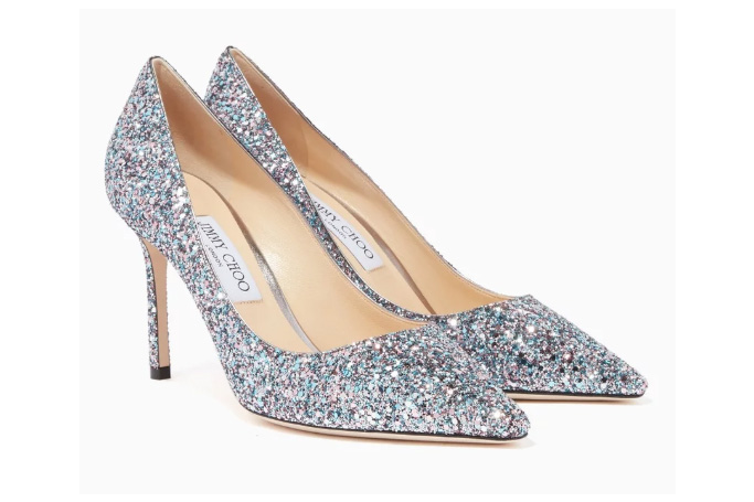 Jimmy Choo - Bubblegum-Blue Glitter Romy 85 Pumps